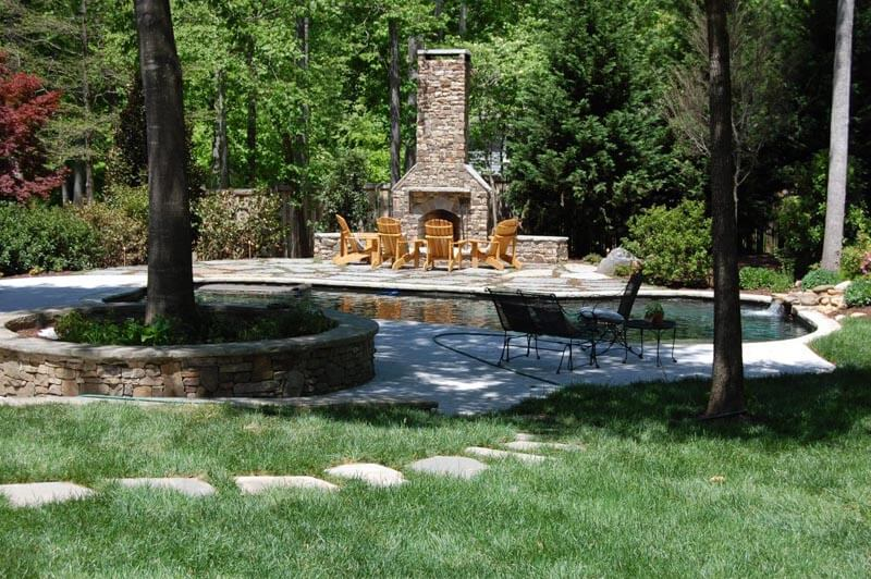 Outdoor pool and firepit in Marietta