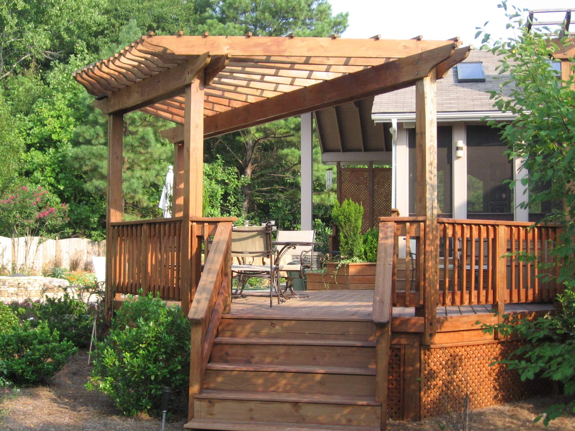 Patio party planning for Deck trellis