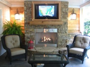 Gas Fireplace Outdoor TV
