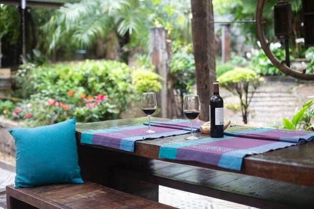 Backyard patio table