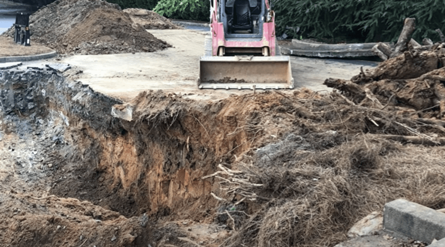 Roswell sinkhole remediation at Beth Hallel parking lot